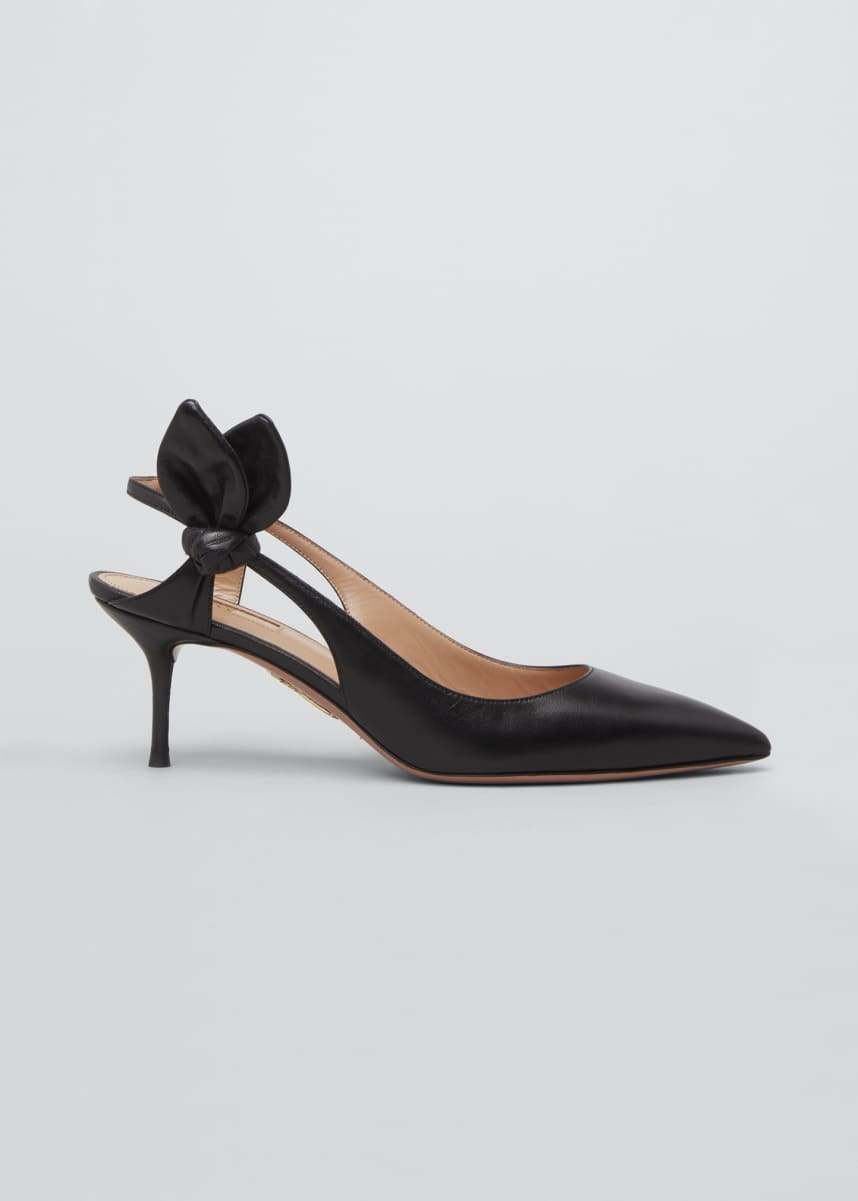 Aquazzura Drew 60mm Napa Bow-Back Pumps