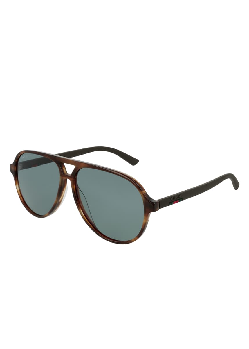 Gucci Men's GG0423S Acetate Aviator Sunglasses