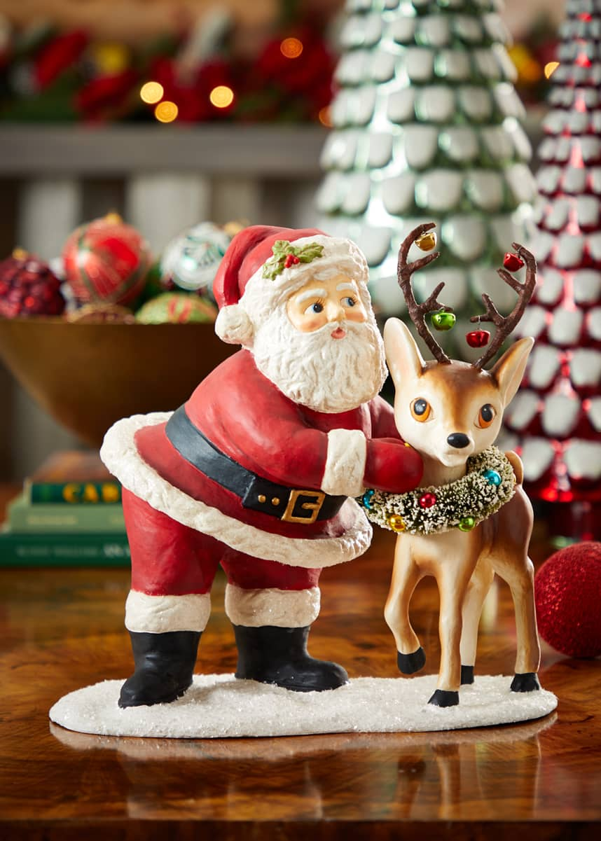 Bethany Lowe Retro Santa with Reindeer Holiday Statue