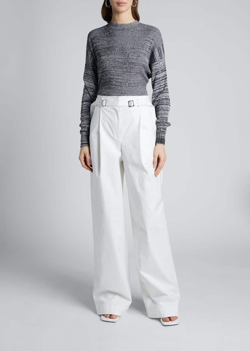Proenza Schouler White Label Marled Crewneck Sweater with Ruched Back
