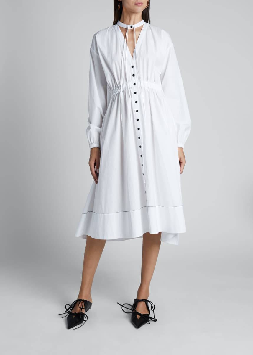 Proenza Schouler White Label Cotton Shirting Collared Button-Down Dress