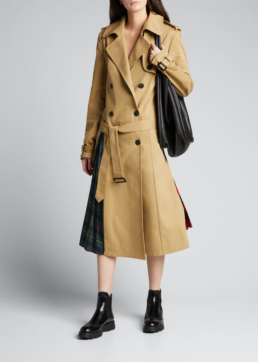 Monse Trench Coat with Pleated Plaid Back