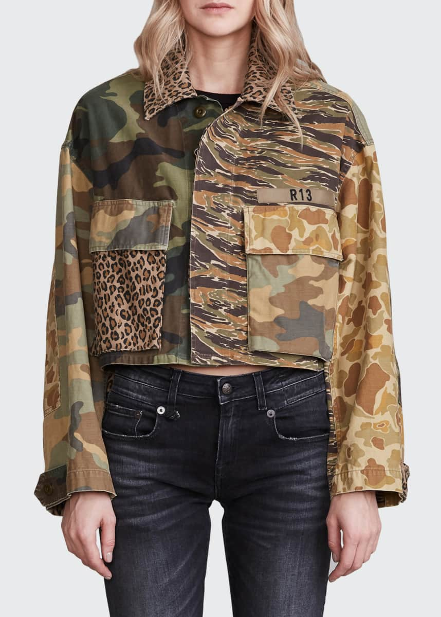 R13 Abu Short Mixed Camo-Print Jacket