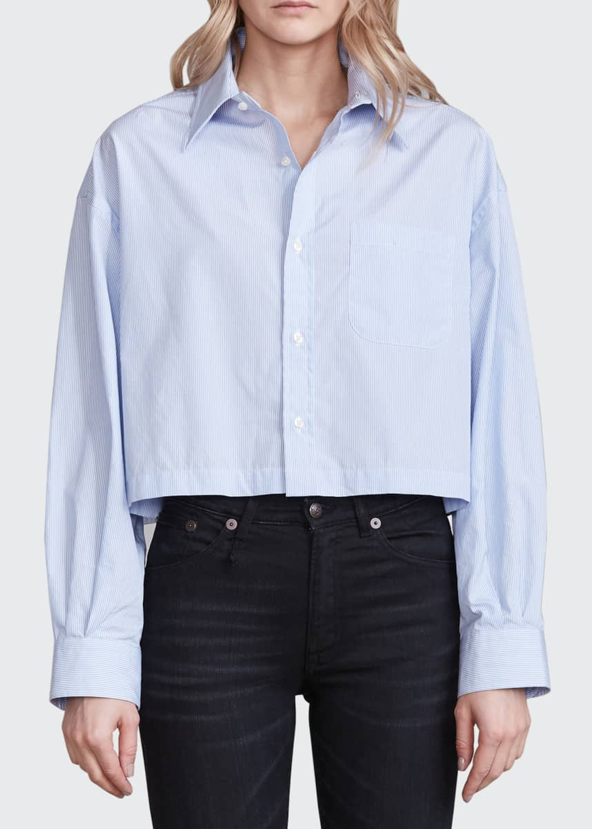R13 Oversized Cropped Cotton Button-Front Shirt