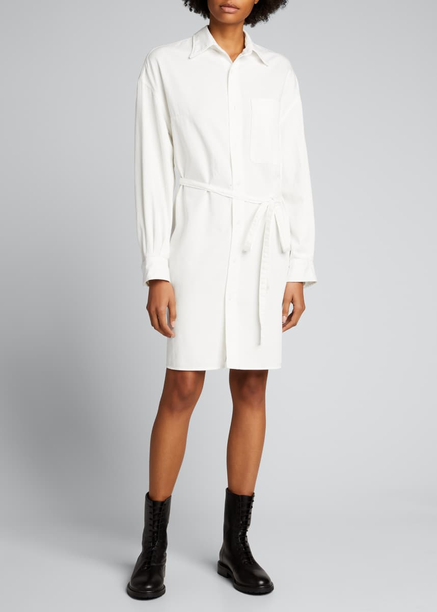 R13 Oversized Button-Front Shirtdress