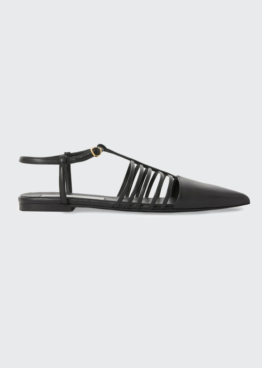 Stella McCartney Flat Point-Toe T-Strap Sandals