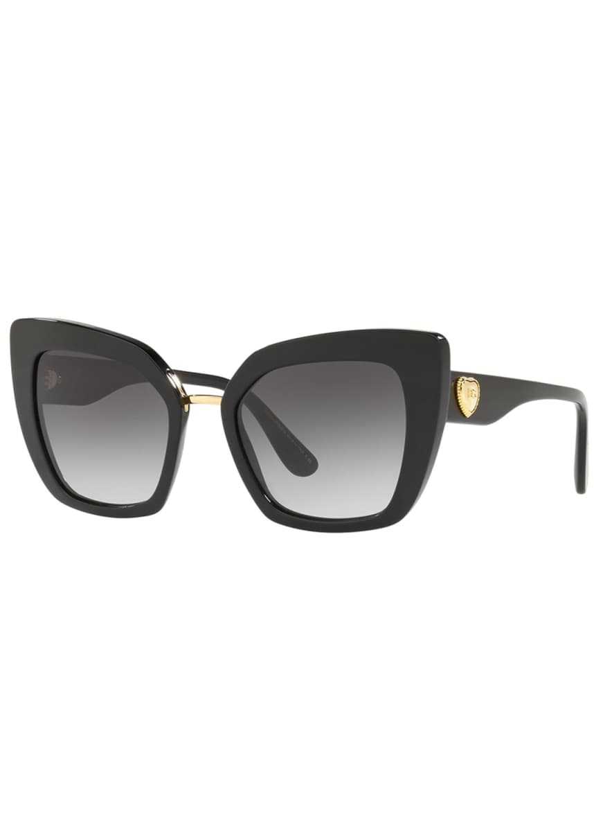Dolce & Gabbana Exaggerated Acetate Cat-Eye Sunglasses with Heart