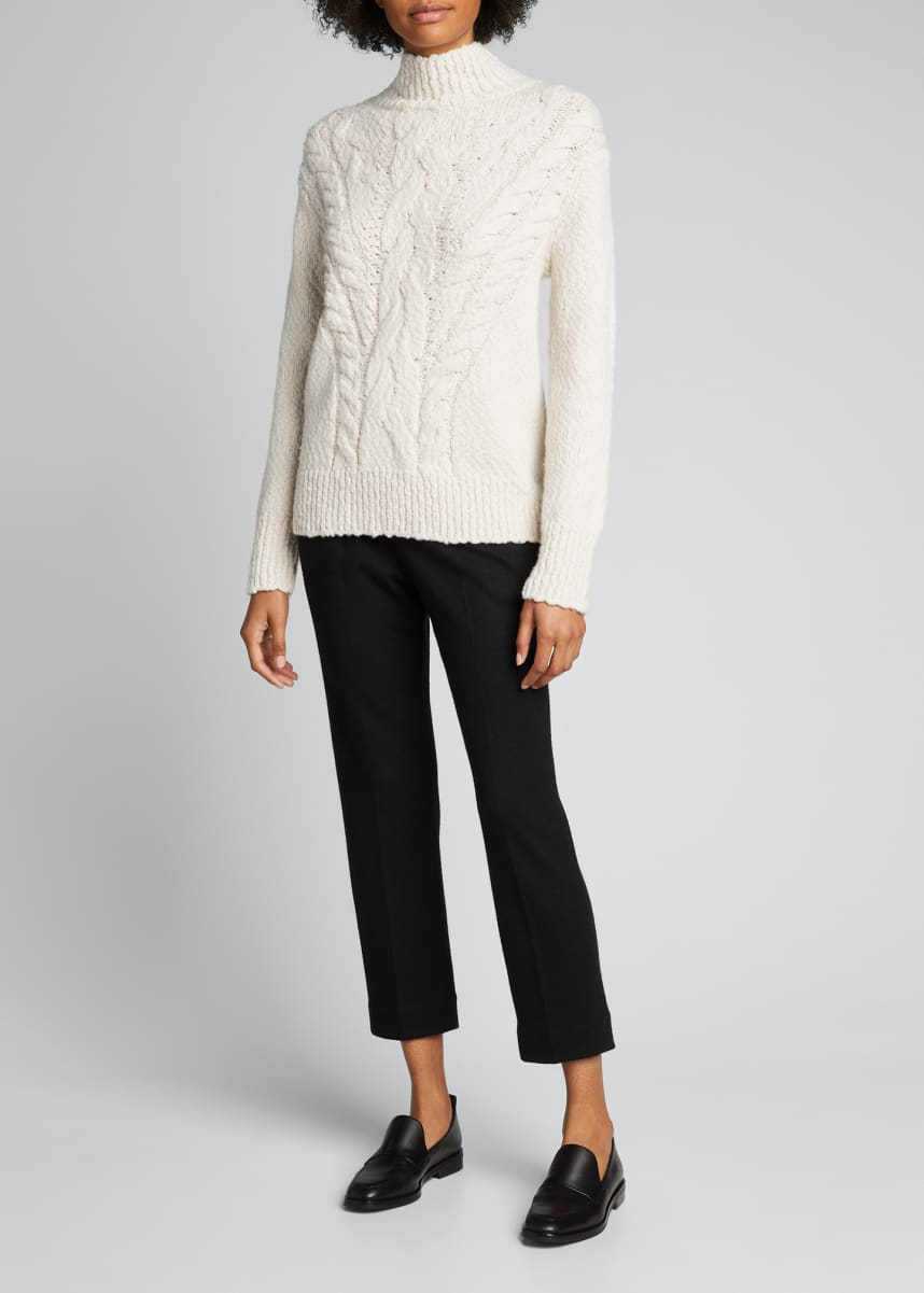 Vince Rising Cable-Knit Turtleneck Sweater
