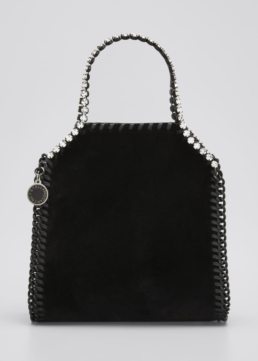 Stella McCartney Falabella Tiny Velvet Chain Tote Bag with Crystal Trim