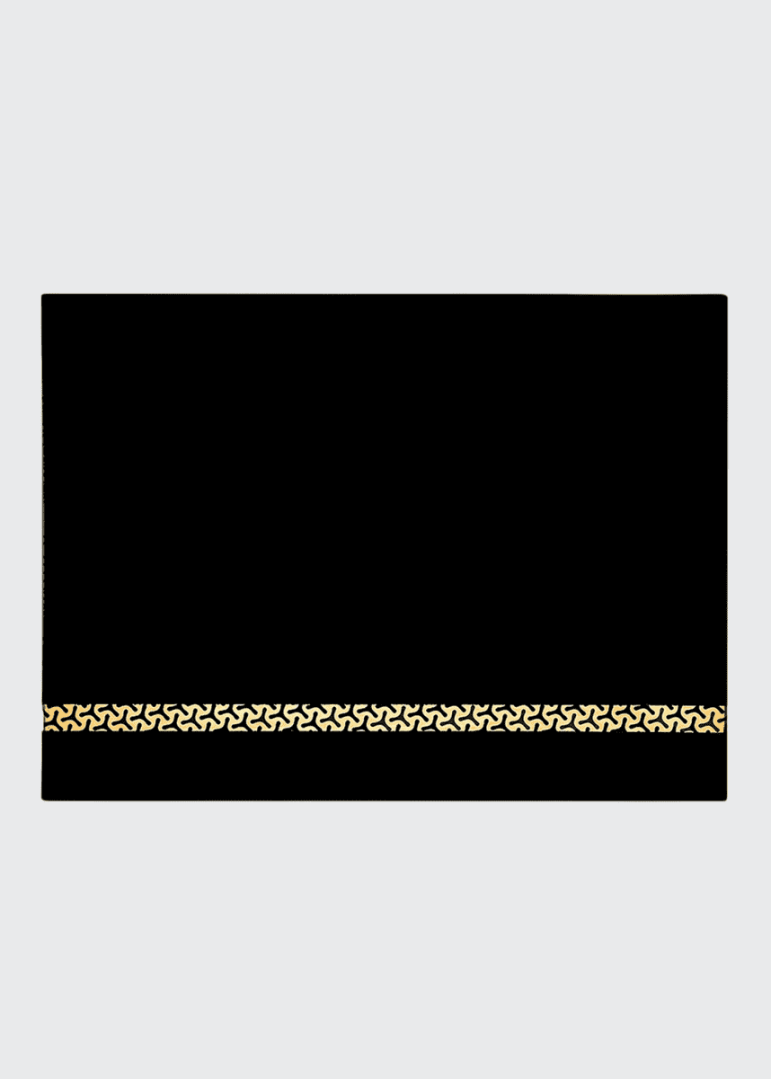 Nomi K Black Frosted Glass Rectangular Placemat with 18K Gold & Black Striped Pattern