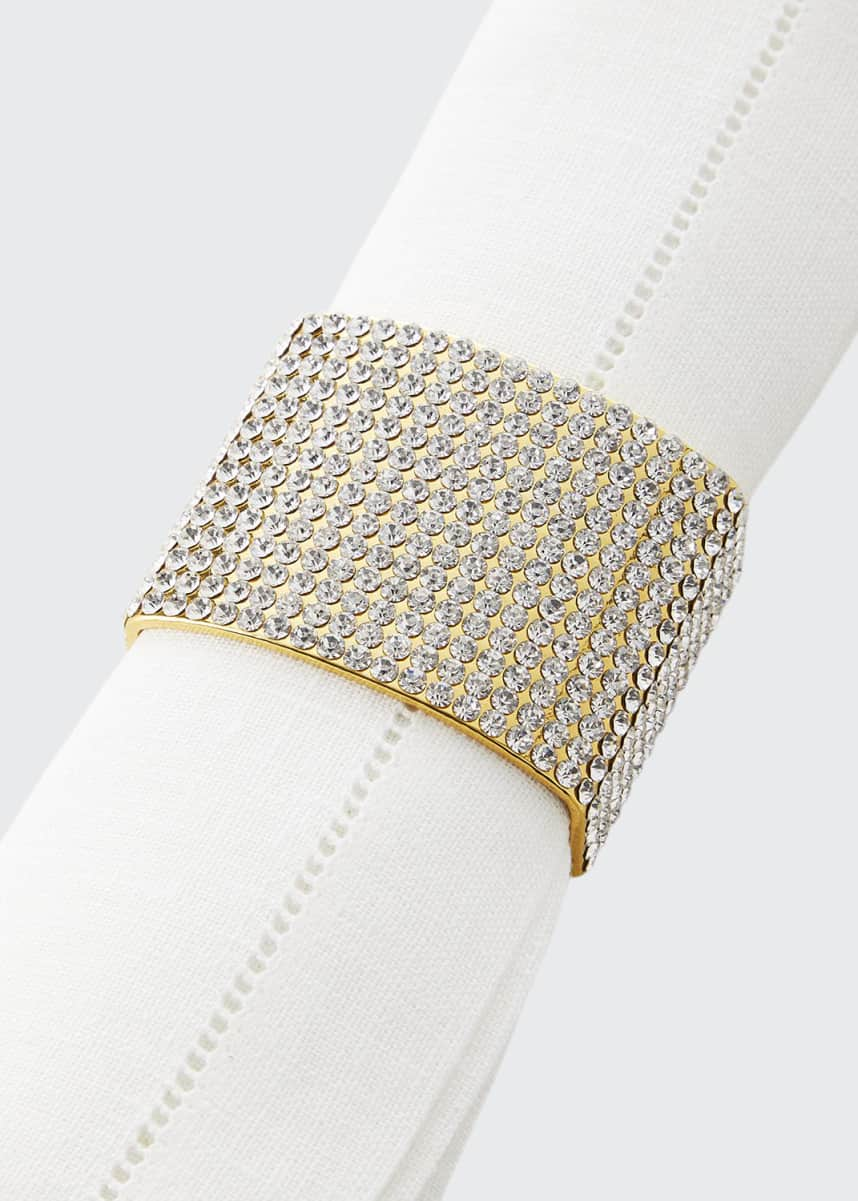 Nomi K Classic & Modern Crystal Studded Napkin Rings, Set of 4