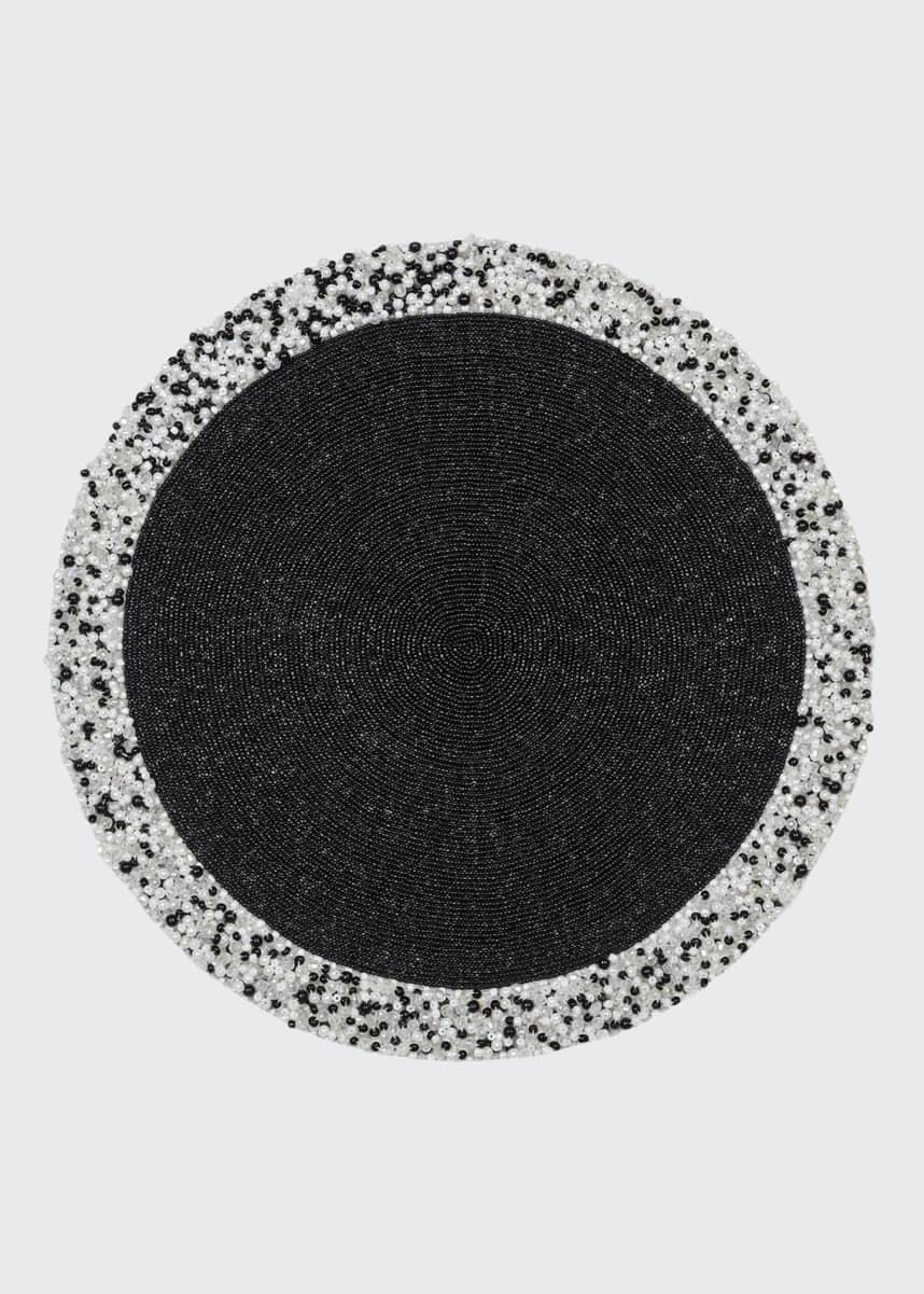 Nomi K Black Hand Beaded Round Placemat