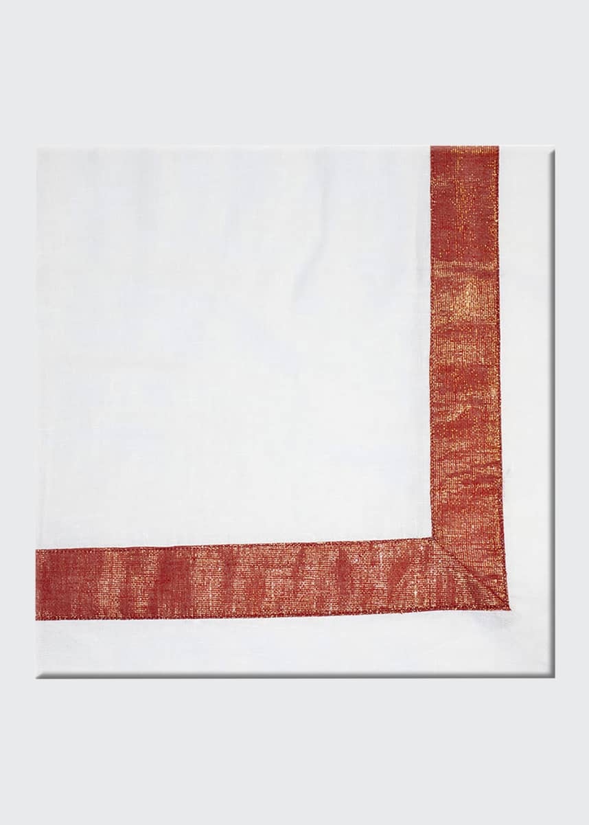 Nomi K Red Shimmer Bordered Napkin