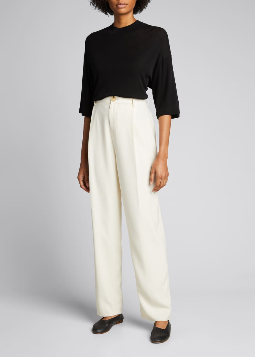 Vince Cropped Wide-Sleeve Mock-Neck Wool Top