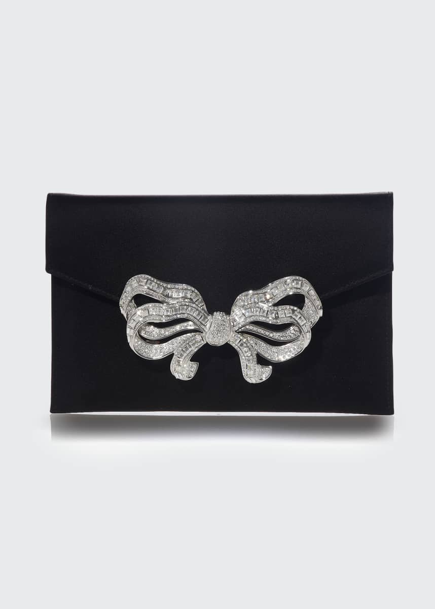 Judith Leiber Couture Crystal Bow Satin Envelope Clutch Bag
