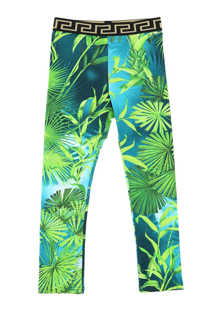 Versace Girl's Jungle-Print Leggings, Size 4-6