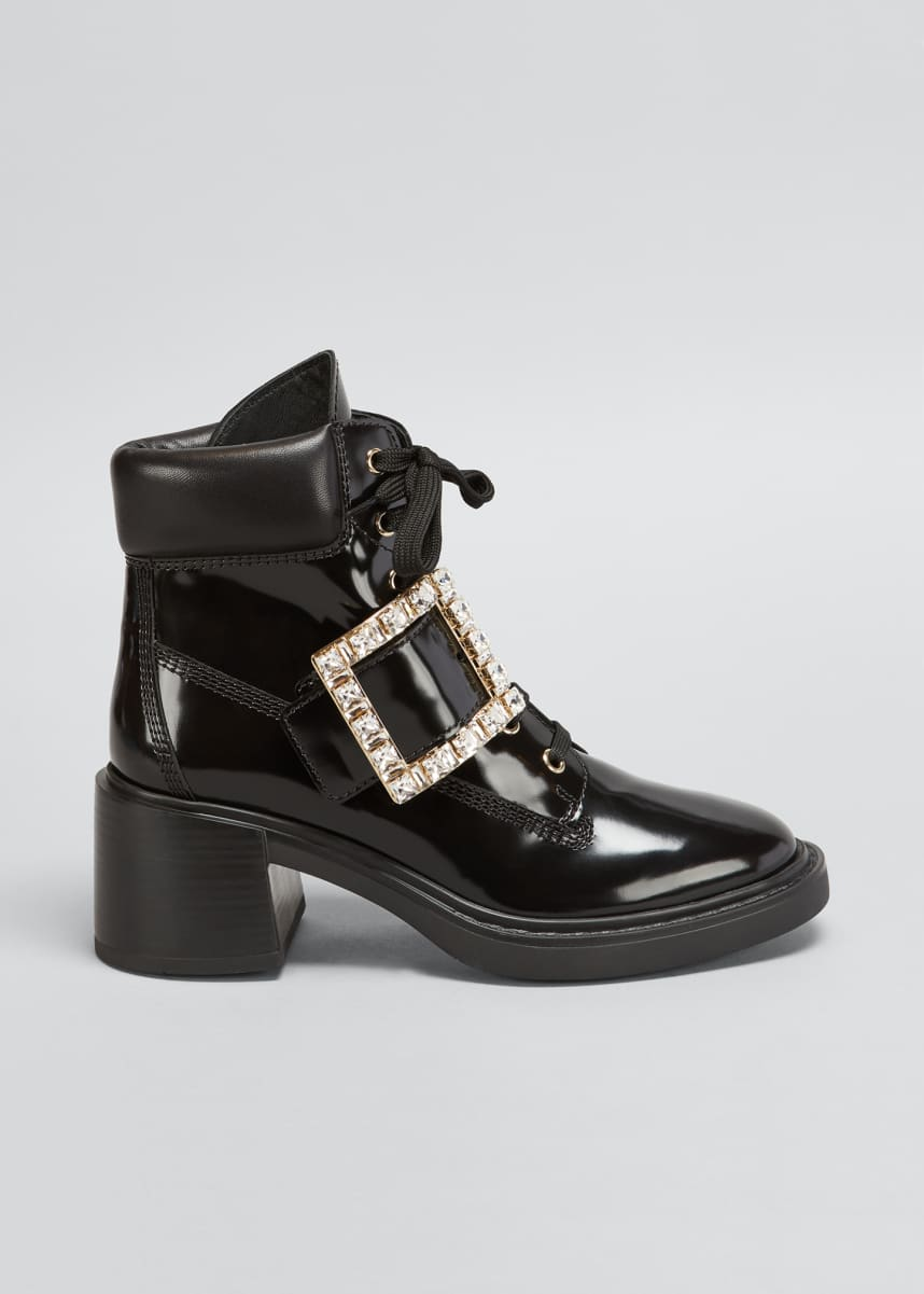 Roger Vivier Viv' Rangers Spazzolato Block-Heel Booties with Crystal Buckle