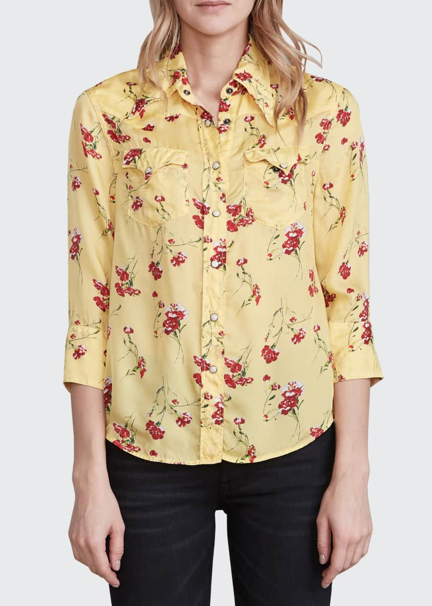 R13 Exaggerated-Collar Cowboy Shirt