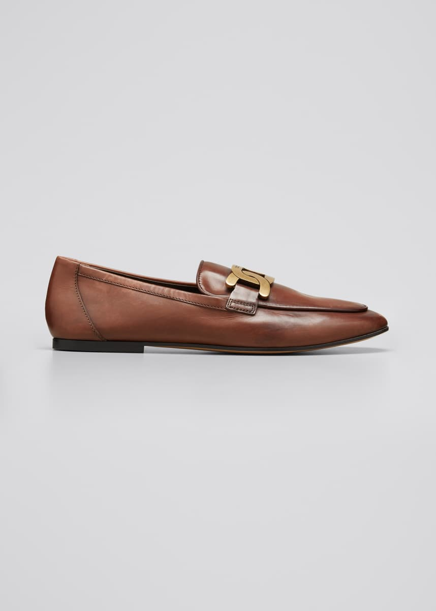 Tod's Leather Chain Slip-On Loafers