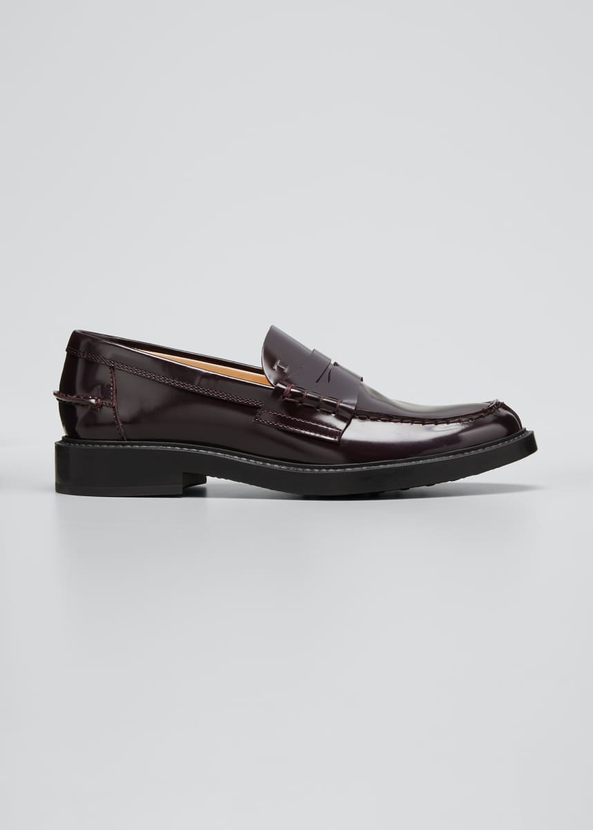 Tod's Patent Flat Penny Loafers