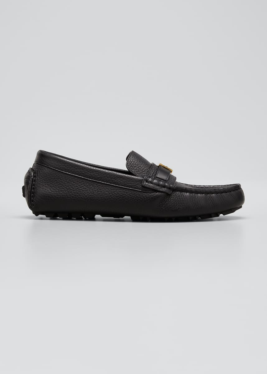 Fendi Men's Pebbled Leather Drivers w/ FF Buckle Strap