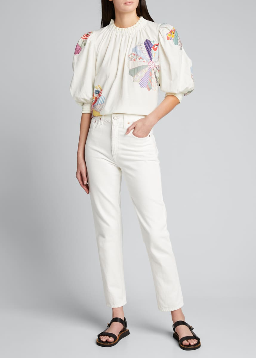 Sea Paloma Puff-Sleeve Patchwork Top