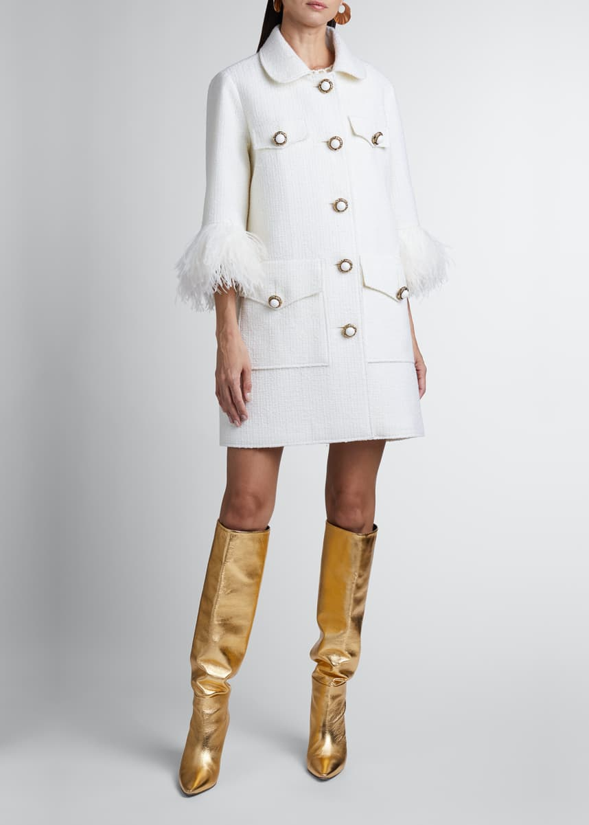 Andrew Gn Feather-Sleeve Wool Coat