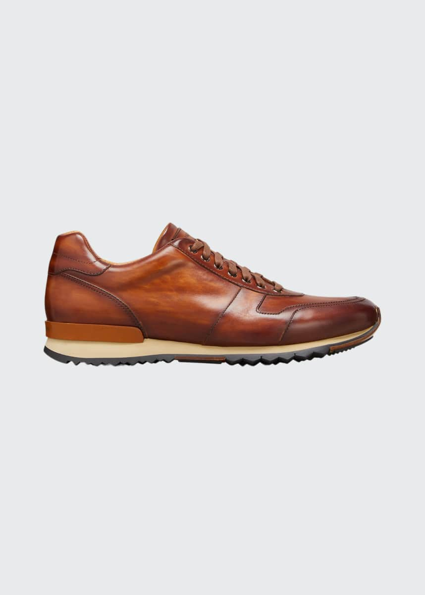 Magnanni Men's Burnished Leather Lace-Up Sneakers