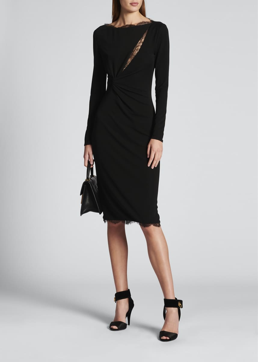 TOM FORD Boat-Neck Lace Keyhole Knotted Dress