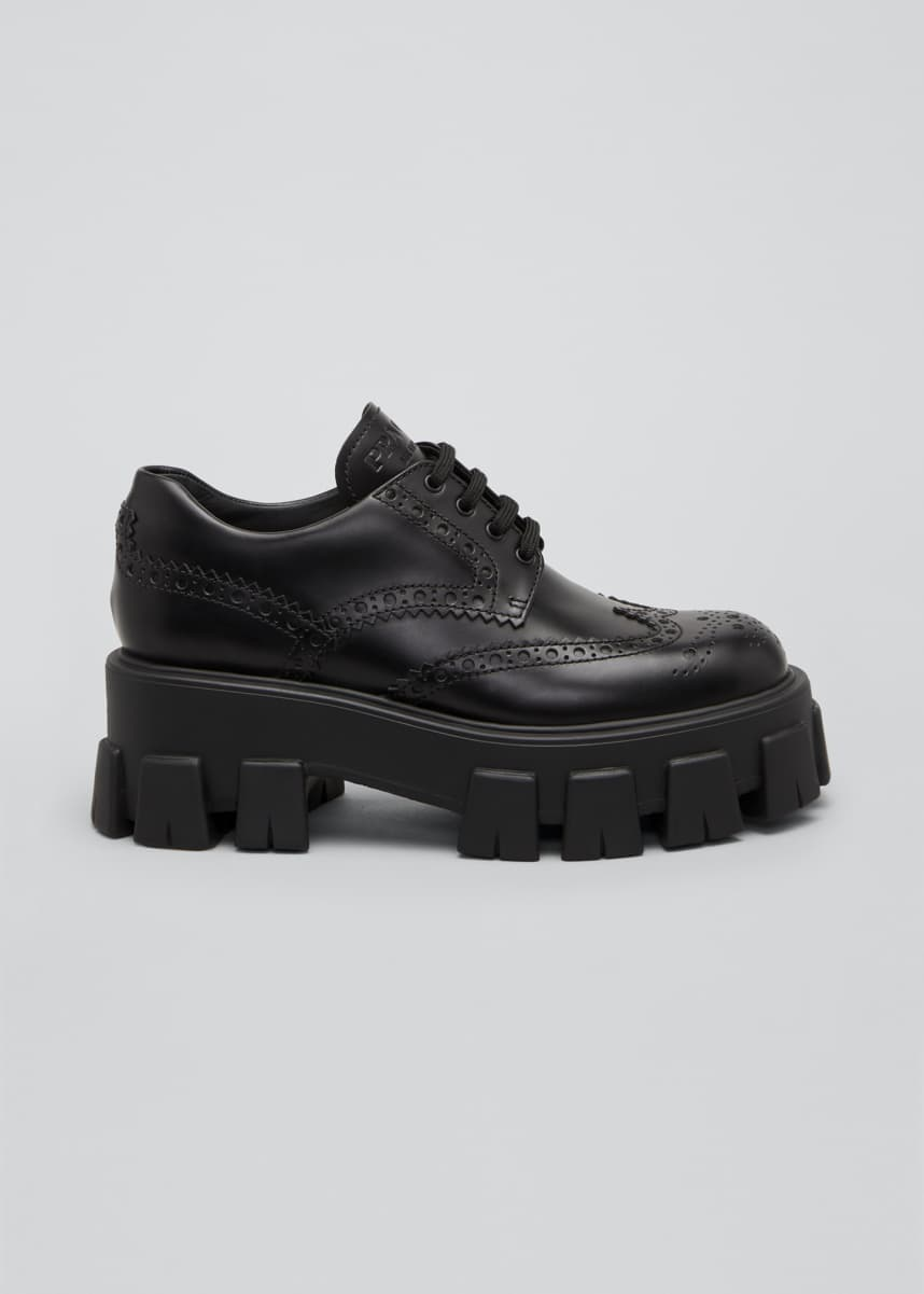Prada Leather Lugged-Sole Oxford Loafers