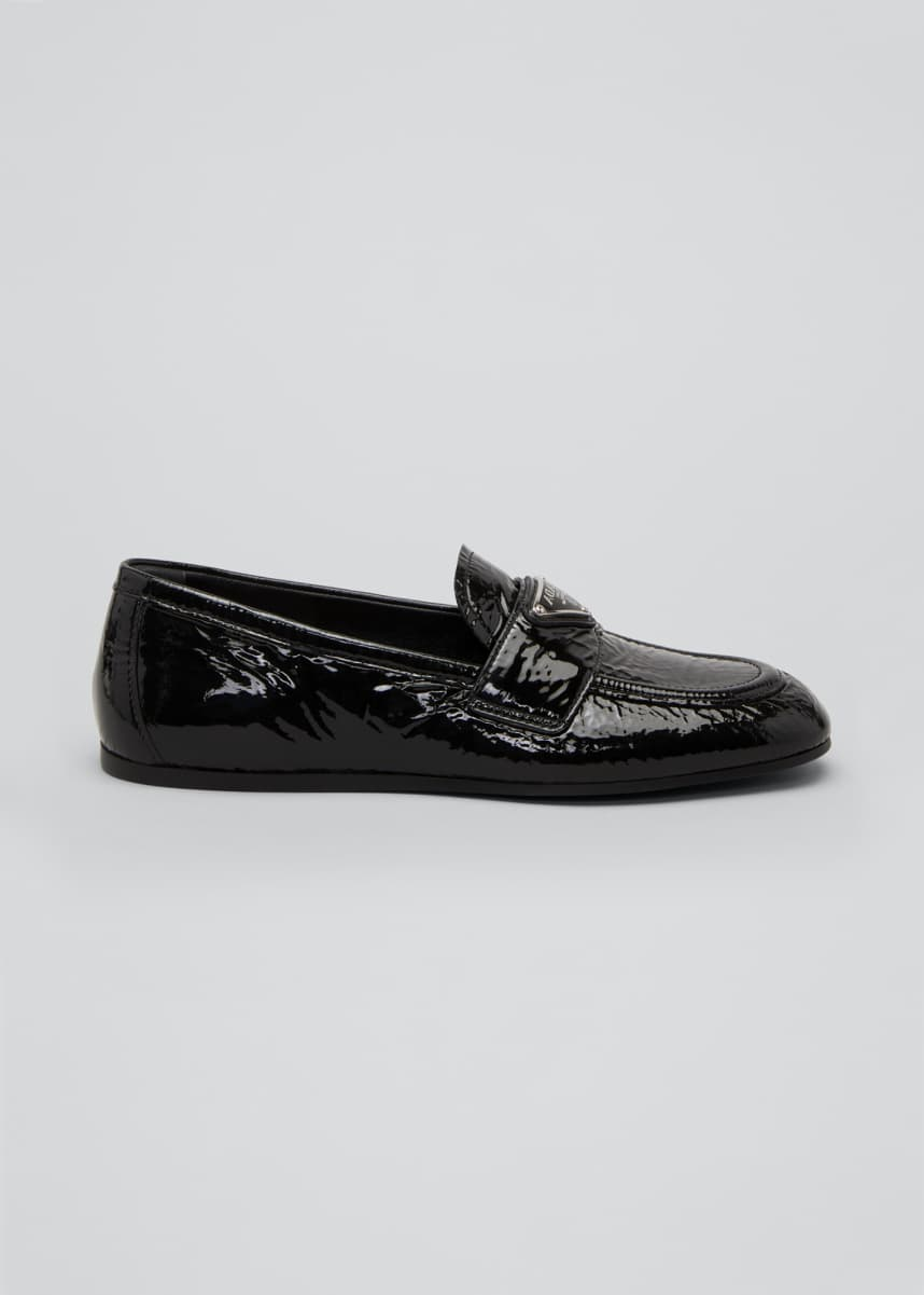 Prada 5mm Crinkle Patent Leather Loafers with Triangle Logo