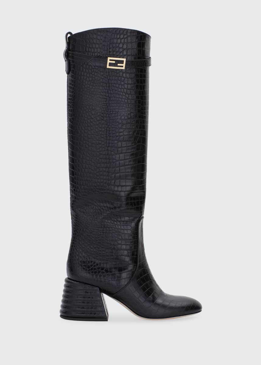 Fendi 60mm Mock-Croc Tall Riding Boots