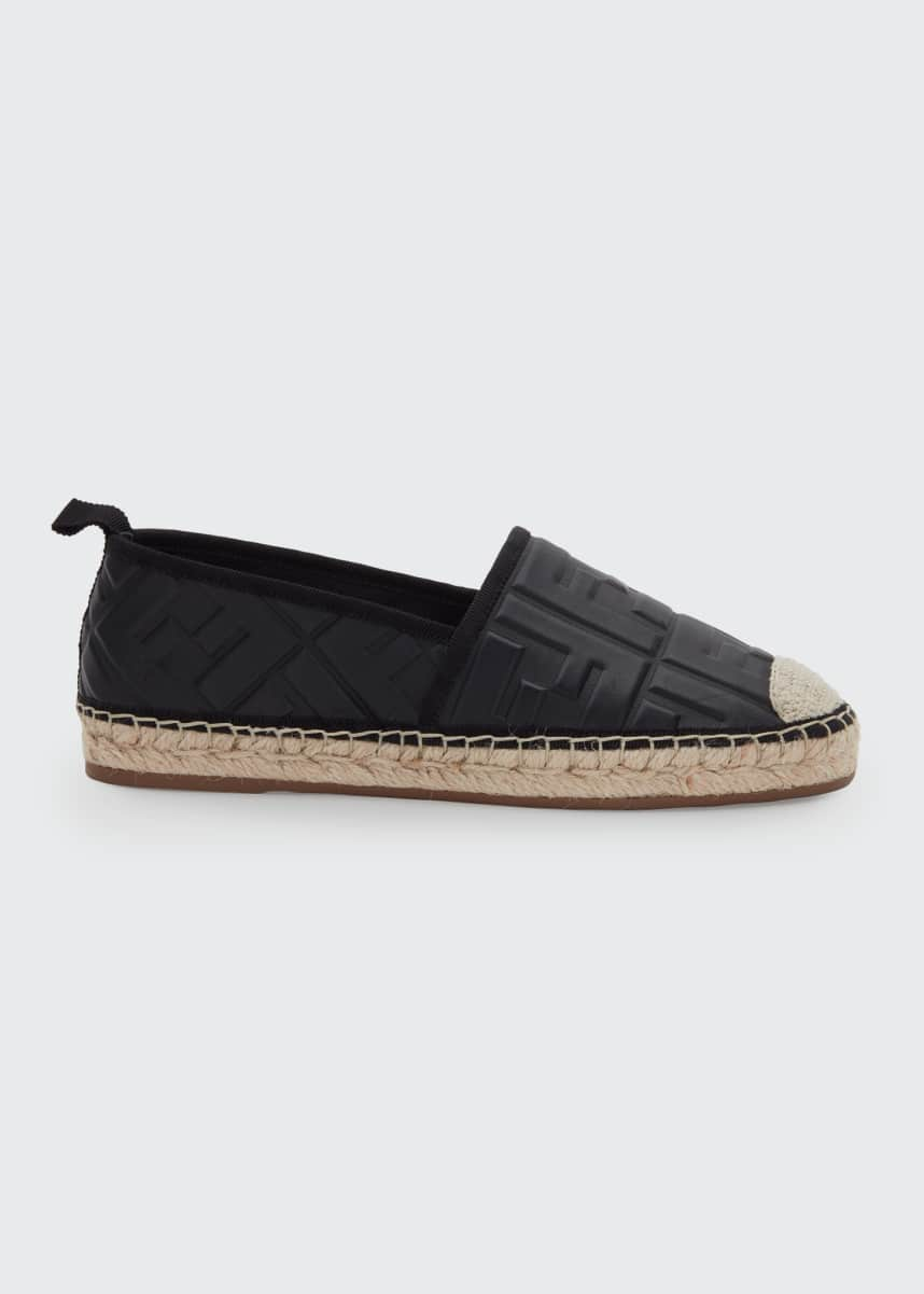 Fendi FF Leather Flat Espadrilles