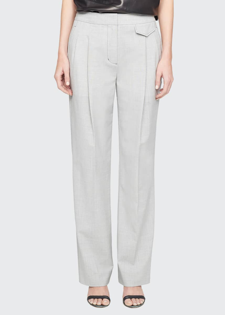 3.1 Phillip Lim Wool Chambray Wide-Leg Trousers