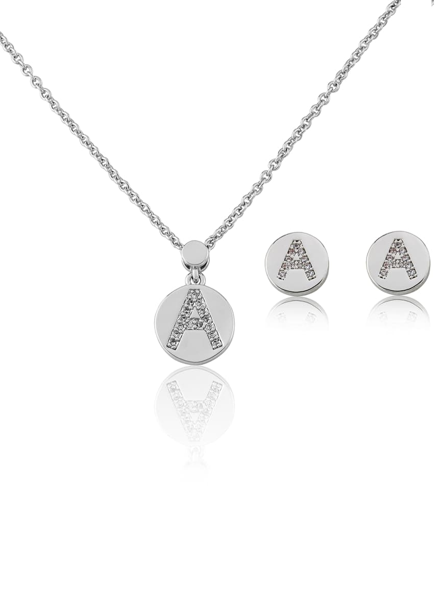 LMTS Girl's Rhodium-Plated Initial Necklace w/ Matching Stud Earrings Set