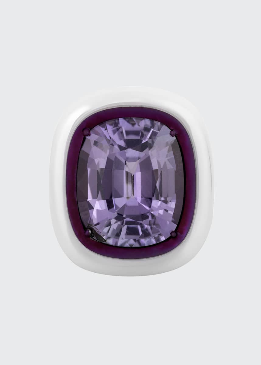 Bayco Cushion Natural Purple Sapphire and White Ceramic Ring