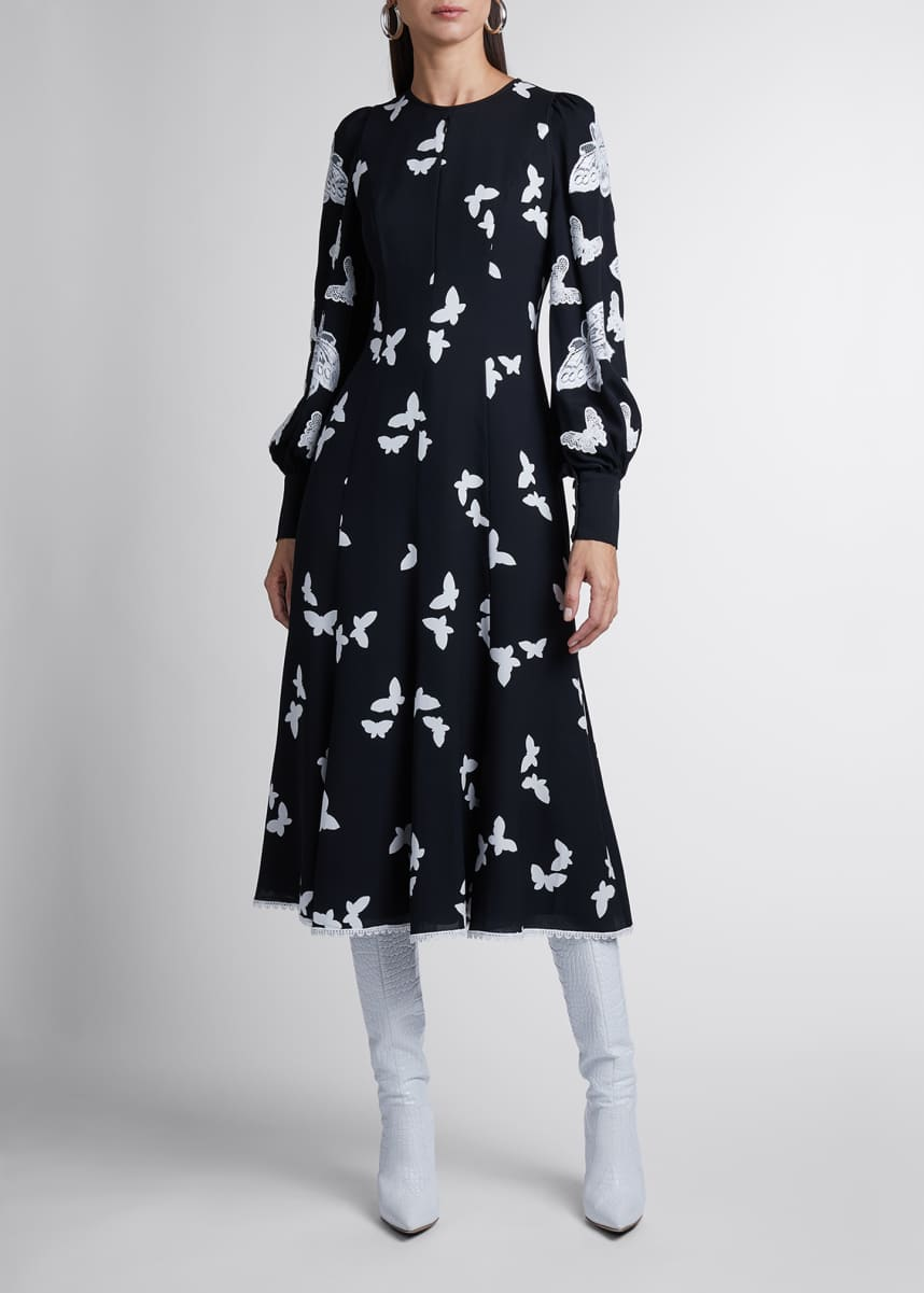 Andrew Gn Butterfly Applique Silk Midi Dress