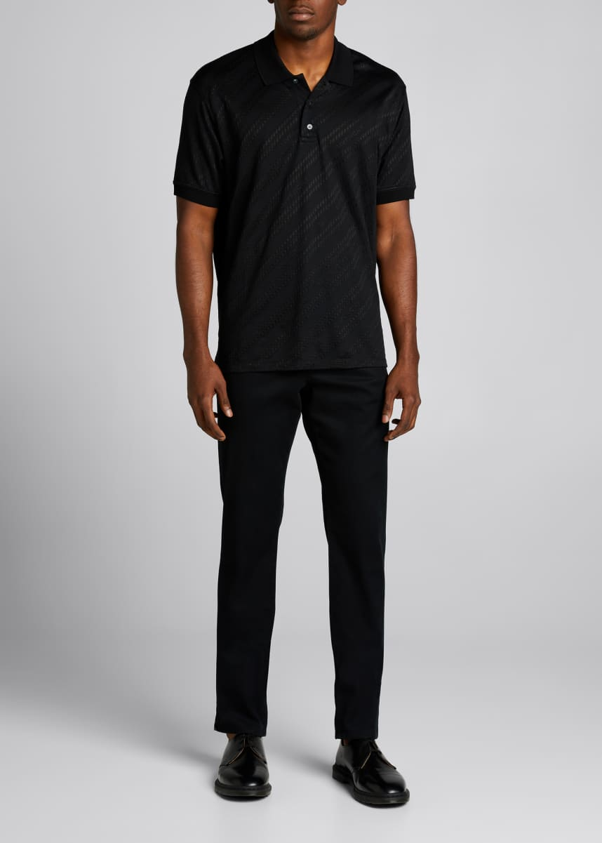 Givenchy Men's Diagonal Chain Jacquard Polo Shirt