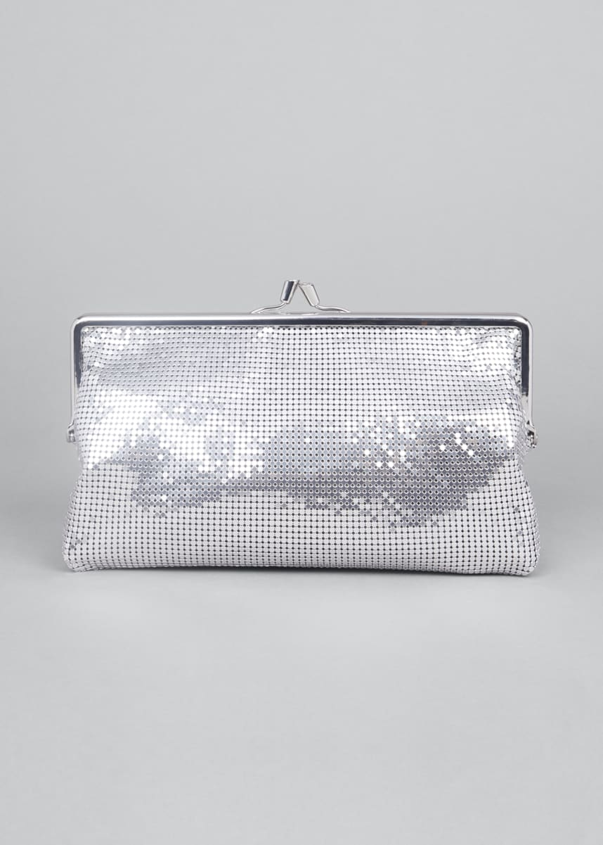 Paco Rabanne Metallic Aluminum Kiss-Lock Clutch Bag