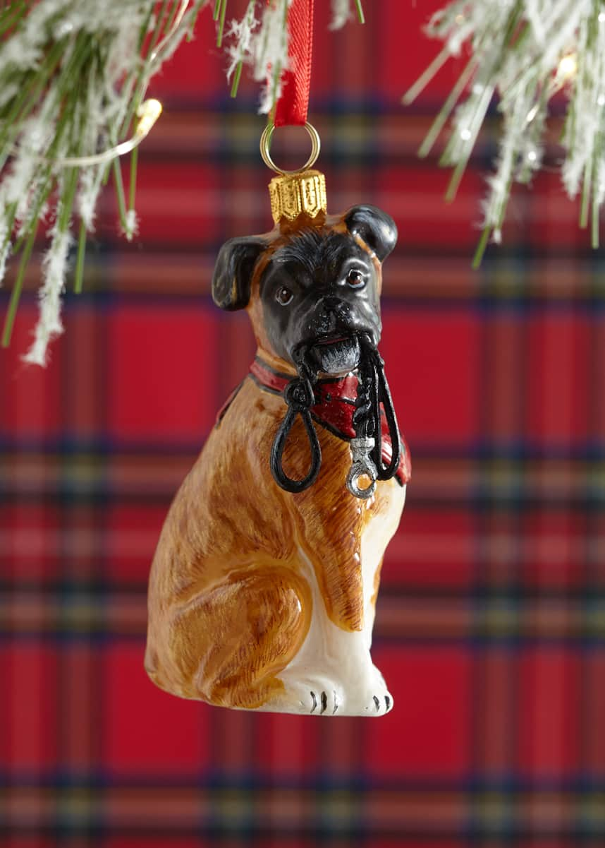 Joy To The World Collectibles Boxer With Leash & Bandana Christmas Ornament