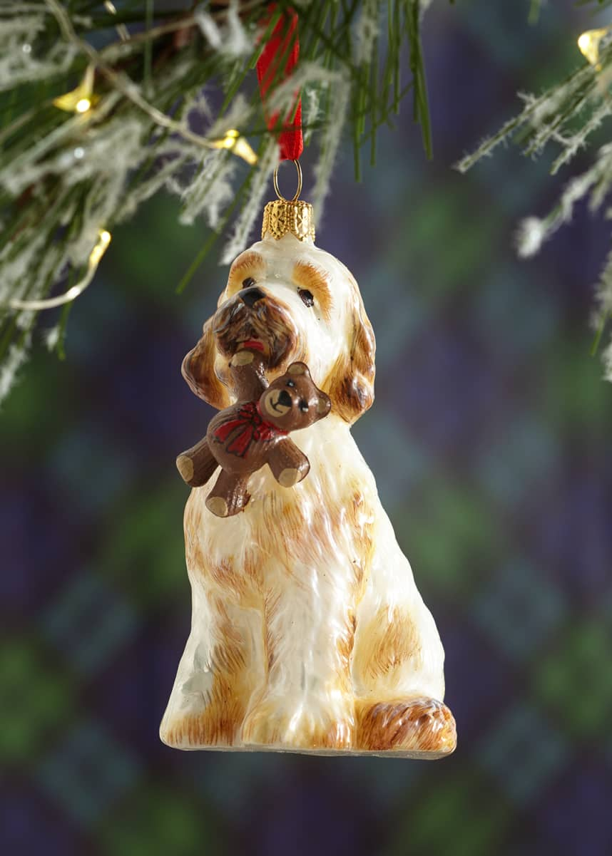 Joy To The World Collectibles Goldendoodle with Teddy Bear Christmas Ornament