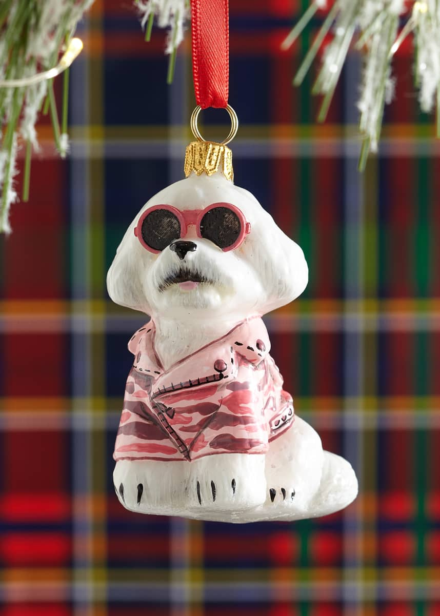 Joy To The World Collectibles Bichon Frise with Pink Camo Coat Ornament