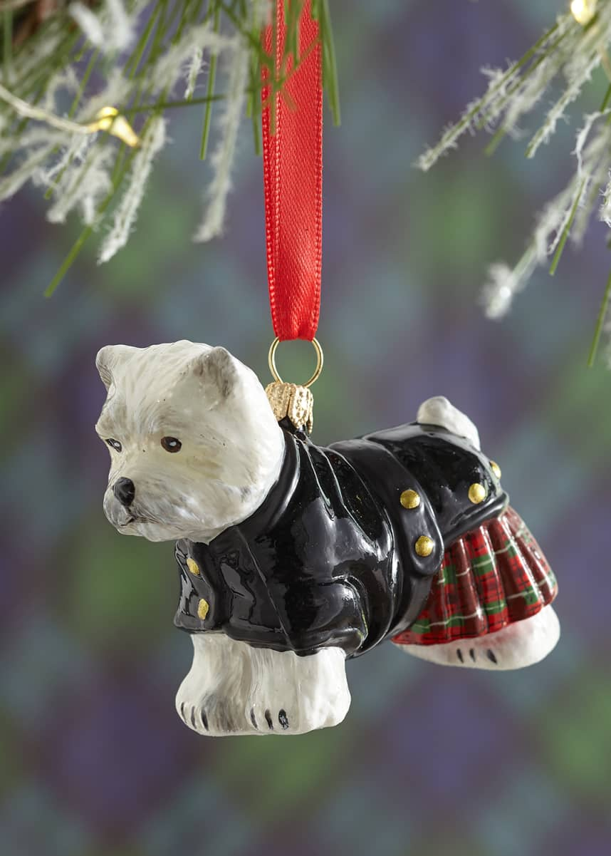 Joy To The World Collectibles Westie in Tartan Plaid Kilt Christmas Ornament