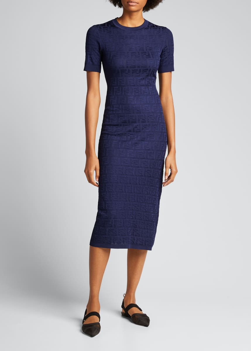 Fendi Logo-Jacquard Bodycon Dress