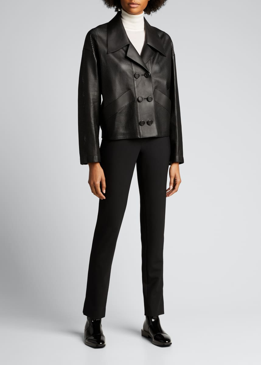 Fendi Perforated Double-Breasted Leather Jacket