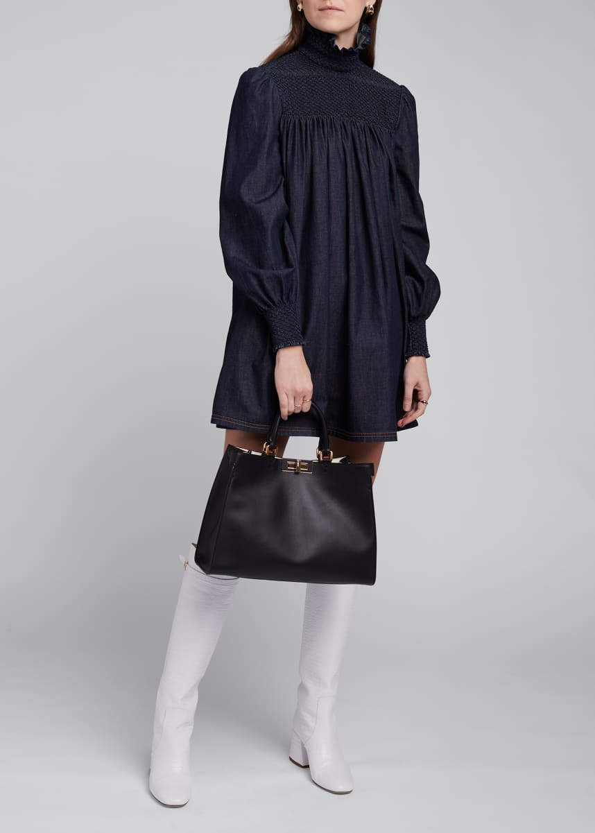 Fendi Denim High-Neck Shift Dress