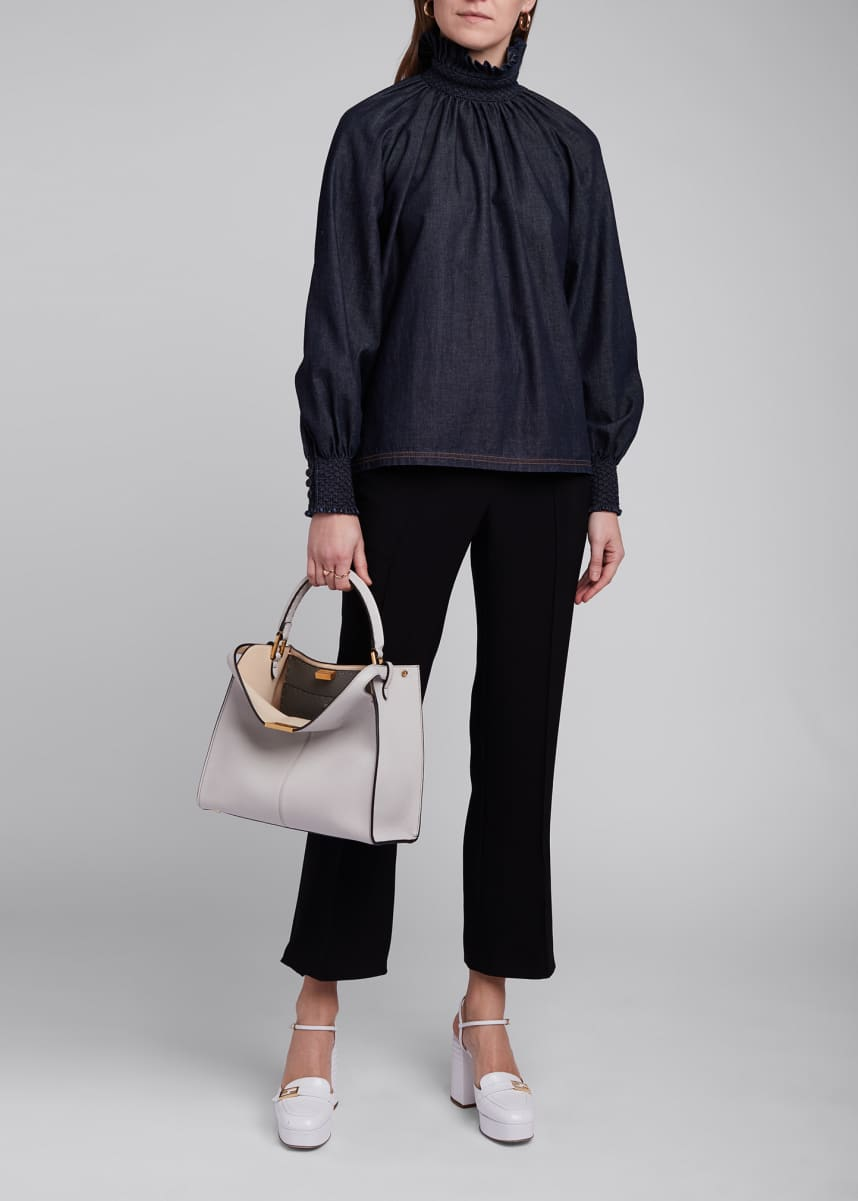 Fendi Denim High-Neck Top