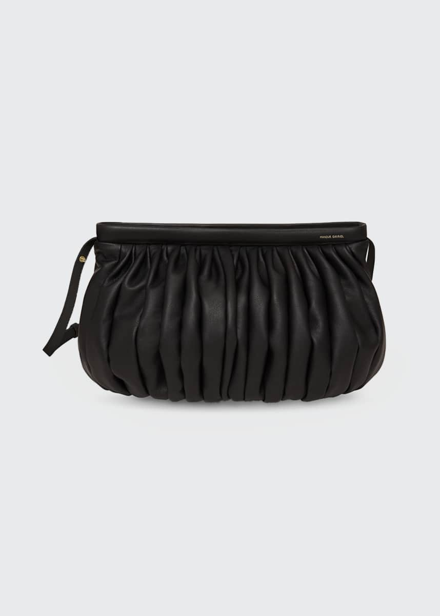 Mansur Gavriel Balloon Pleated Leather Shoulder Clutch Bag
