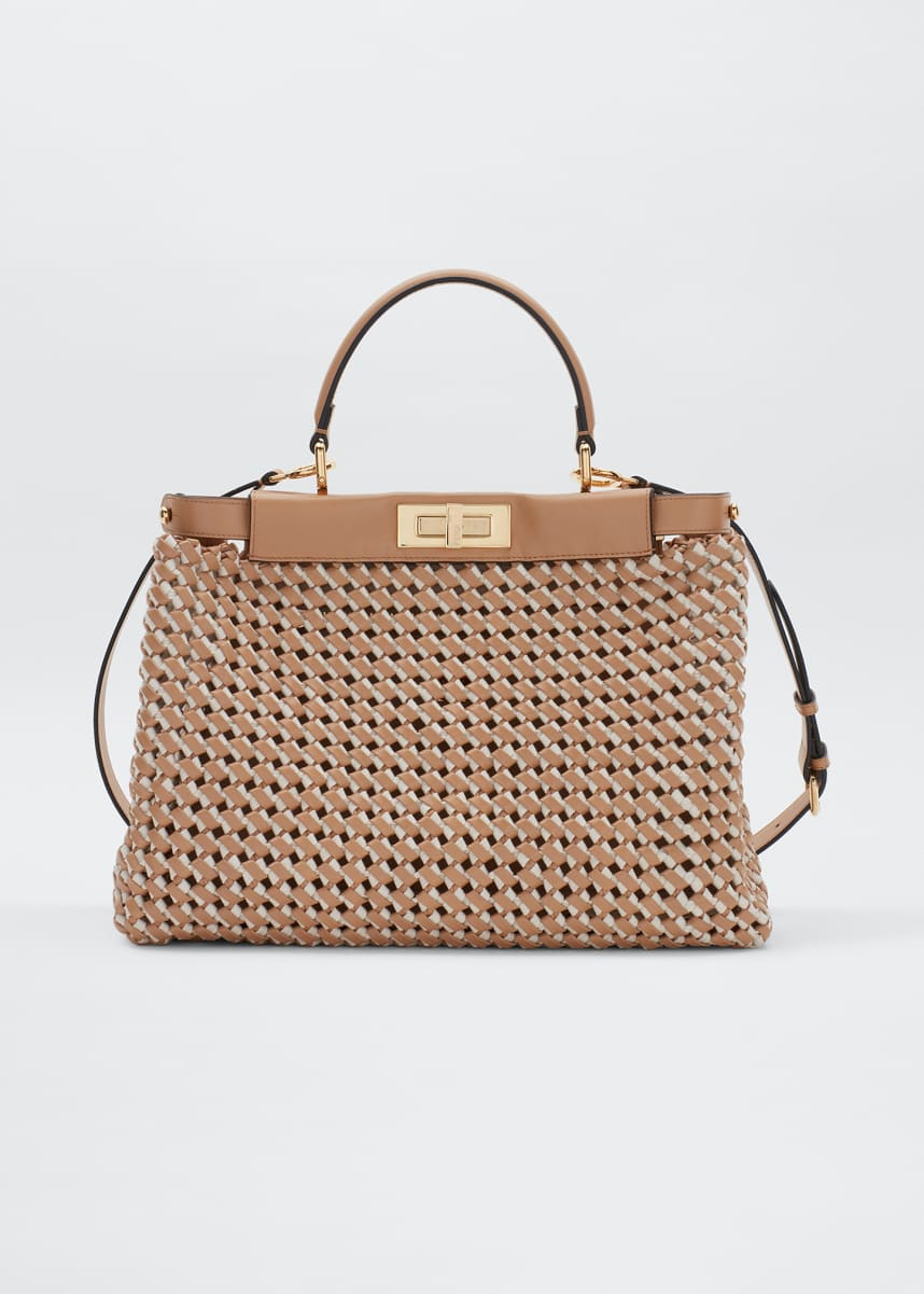 Fendi Peekaboo Medium Interlace Leather/Canvas Top-Handle Bag