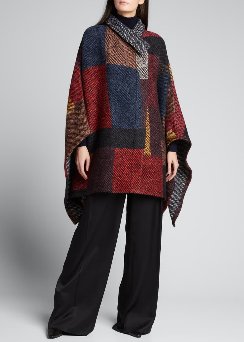 Akris Tweed Patchwork Wool Cape